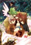 1boy 1girl black_wings brown_hair character_request checkered checkered_background closed_eyes flower green_hair hat hat_removed headwear_removed holding_hands kyurem long_hair n_(pokemon) pokemon pokemon_(creature) pokemon_(game) pokemon_bw reshiram rose suikuyo touko_(pokemon) white_wings wings