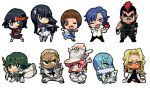 4girls 6+boys apple black_hair blonde_hair blue_hair brown_hair chibi food fruit gamagoori_ira glasses green_hair hat inumuta_houka iori_shirou jakuzure_nonon kill_la_kill kinagase_tsumugu kiryuuin_satsuki mankanshoku_mako matoi_ryuuko mikisugi_aikurou mohawk multicolored_hair multiple_boys multiple_girls pink_hair sanageyama_uzu senketsu shako_cap shinai shinonoko_(tubamecider) skirt streaked_hair sword uniform weapon wink