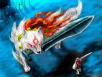 amaterasu dark_souls fire great_grey_wolf_sif magatama mouth_hold ogamiya_jin ookami_(game) parody sword weapon wolf