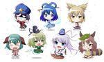amber_eyes animal_ears anklet belt blouse blue_dress blue_eyes blue_hair blush boat bracelet breasts brown_dress brown_eyes brown_hair butterfly_sitting chibi closed_eyes dog_ears dress ears evil_grin evil_smile fang flower futatsuiwa_mamizou ghost ghost_tail glasses gourd gradient_hair green_dress green_eyes green_hair grin hagoromo hair_ornament hair_stick hat headphones highres japanese_clothes jewelry jiangshi kaku_seiga kasodani_kyouko leaf leaf_on_head looking_back miyako_yoshika mononobe_no_futo multicolored_hair open_mouth outstretched_arms petals pince-nez pom_pom_(clothes) ponytail puffy_sleeves raccoon_ears raccoon_tail ratte_(intruder) ribbon ritual_baton scowl shaded_face sharp_teeth shawl shouting silver_hair sitting skirt sleeveless smile smirk soga_no_tojiko spirits star sword tail talisman tate_eboshi ten_desires touhou toyosatomimi_no_miko vest weapon wide_sleeves wide_stance zombie_pose