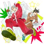 2boys animal_costume beard black_hair cake chicken_leg christmas dual_persona facial_hair food hat highres jojo_no_kimyou_na_bouken joseph_joestar_(young) multiple_boys old older oreha00701 reindeer_antlers reindeer_costume sack santa_costume santa_hat shoes sneakers teenage younger