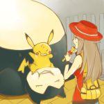 1girl brown_hair flute genderswap hat instrument pikachu pokemon pokemon_(creature) pokemon_(game) pokemon_frlg porkpie_hat red_(pokemon) size_difference snorlax sweatdrop tribute