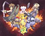alternate_color baseball_bat black_eyes black_hair blonde_hair blue_eyes bow_(weapon) brown_hair frying_pan hat headband kid_icarus kirby kirby_(series) kudou_akira lucario mother_(game) mother_2 ness nintendo ocarina_of_time pikachu pit_(kid_icarus) pokemon red_eyes sheik spatula super_smash_bros. the_legend_of_zelda weapon wings