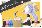 >_< :d alternate_color arakune blazblue food haiero hakumen hammer happy_new_year kaka_kittens mochi o_o open_mouth smile translated wagashi you're_doing_it_wrong yuuki_terumi