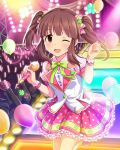 1girl ;d audience balloon blush brown_hair glowstick idol idolmaster idolmaster_cinderella_girls jpeg_artifacts looking_at_viewer microphone ogata_chieri open_mouth polka_dot_skirt skirt sleeveless_blazer smile stage stage_lights twintails wink