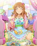 1girl :3 ^_^ artist_request blush candy closed_eyes idolmaster idolmaster_cinderella_girls jewelry jpeg_artifacts lollipop moroboshi_kirari necklace official_art sitting solo star