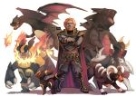 1boy armor beard bisharp charizard creature crossed_arms crossover dark_skin emboar facial_hair finni_chang ganondorf houndoom nintendo pokemon pokemon_(creature) red_eyes redhead smile the_legend_of_zelda twilight_princess tyranitar