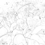 ass blanka brekkist cammy_white car chest_hair chun-li cody_travers dhalsim driving dudley elena flying genryuusai_maki guile han_juri hibiki_dan highres hugo_andore ibuki ken_masters makoto motor_vehicle multiple_boys multiple_girls necro oro poison_(final_fight) q ryuu_(street_fighter) skateboard sketch street_fighter twelve vehicle yun_lee zangief