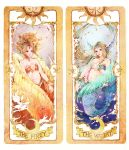 2girls aco_(usausausa) bare_shoulders blue_eyes bracelet bubble card cardcaptor_sakura character_name clow_card crescent_moon elaborate_frame embellished_costume english feathered_wings fins fire frame gem head_fins highres jewelry long_hair mermaid midriff monster_girl moon multiple_girls pearl pointy_ears red_eyes star the_firey the_watery underwater water wings