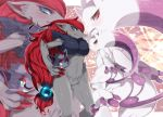 agemono blue_eyes blush fox frown furry mega_mewtwo_y mega_pokemon mewtwo no_humans pokemon pokemon_(creature) pokemon_(game) pokemon_xy red_eyes redhead zoom_layer zoroark zorua