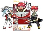 1girl 2boys android blue_hair comic dual_wielding grey_eyes grey_eyes grey_hair grin labrys long_hair minazuki_sho multiple_boys narukami_yuu persona persona_4 persona_4:_the_ultimate_in_mayonaka_arena pleated_skirt ponytail red_eyes redhead robot_joints scar school_uniform short_hair skirt smile sword translation_request weapon