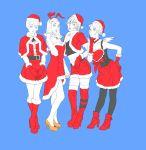 4girls amano_maya hat highres kirishima_eriko lisa_silverman multiple_girls partially_colored persona persona_2 santa_costume santa_hat serizawa_ulala shuffler thighhighs