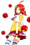 1girl 2014 ahoge andou_ringo apple character_hair_ornament dated drill_hair food fruit green_eyes hair_ornament hairclip kei-chan_(atlas_kei) looking_back neckerchief object_namesake puyo_(puyopuyo) puyopuyo puyopuyo_7 redhead school_uniform short_hair skirt socks solo striped striped_legwear sweater_vest thighhighs twin_drills white_background