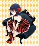 alternate_costume black_hair blue_eyes blush bow chair cross-laced_footwear dress flower gothic_lolita hair_flower hair_ornament hamiya kill_la_kill lolita_fashion looking_at_viewer matoi_ryuuko multicolored_hair rose short_hair sitting strap_slip streaked_hair