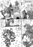 !? 5girls akatsuki_(kantai_collection) blush can comic ebifly fingerless_gloves folded_ponytail gloves hair_ornament hand_on_hip hat hibiki_(kantai_collection) ikazuchi_(kantai_collection) inazuma_(kantai_collection) jungle_gym kantai_collection long_hair monochrome multiple_girls neckerchief open_mouth pantyhose school_uniform serafuku short_hair skirt tenryuu_(kantai_collection) translation_request