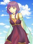 1girl bare_shoulders cape dress fire_emblem fire_emblem:_seima_no_kouseki lowres lute_(fire_emblem) purple_hair short_hair sisima-tomato smile solo twintails violet_eyes