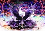 1girl akemi_homura bandaged_leg bandages black_hair black_wings collar colorful dress flower folded_sleeves frilled_dress frills frown hairband highres homulilly long_sleeves mahou_shoujo_madoka_magica mitsukaze_makoto neck_ribbon ribbon spider_lily spoilers tree violet_eyes wings