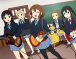 5girls akiyama_mio black_eyes black_hair blonde_hair blue_eyes brown_eyes brown_hair chalkboard drum drum_set guitar hirasawa_yui instrument k-on! kotobuki_tsumugi long_hair multiple_girls nakano_azusa pantyhose qwer school_uniform short_hair synthesizer tainaka_ritsu