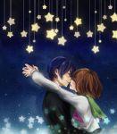 1boy 1girl blue_hair brown_hair closed_eyes couple hug incipient_kiss letta mawaru_penguindrum oginome_ringo school_uniform serafuku short_hair spoilers star takakura_shouma
