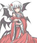 1girl alternate_hairstyle demon_wings dress hair_up multiple_wings no_nose red_dress red_eyes satorichan shinki side_ponytail slit_pupils solo touhou touhou_(pc-98) white_background wide_sleeves wings