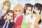 5girls absurdres ahoge black_hair brown_hair glasses highres inami_sakura iwasaki_nami kuriyama_mirai kyoukai_no_kanata long_hair multiple_girls nase_mitsuki ninomiya_shizuku official_art open_mouth shindou_ai short_hair smile