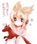 1girl blush brown_eyes brown_hair happy_new_year headphones japanese_clothes kimono makuwauri solo stuffed_horse touhou toyosatomimi_no_miko translated