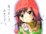 1girl black_hair close-up ichijou_hotaru knit_hat looking_at_viewer non_non_biyori sachiko scarf smile solo tea yellow_eyes