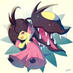 blueberry_(5959) blush extra_mouth fang mawile mega_mawile mega_pokemon no_humans open_mouth outstretched_arms pokemon pokemon_(creature) pokemon_(game) pokemon_xy red_eyes signature simple_background solo