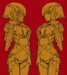 1girl armor bodysuit cyborg ear_piercing gas_mask hair_ornament hands_on_own_chest kikai_(akita_morgue) looking_down mask piercing strap