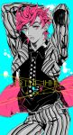 diavolo diavolo_(cosplay) formal genderswap jojo_no_kimyou_na_bouken necktie pink_eyes pink_hair pinstripe_pattern sakaumi solo striped_suit suit trish_una