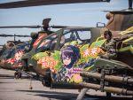 ah-1s_cobra bow character_name fujisawa_takashi glasses hair_bow halftone helicopter highres kisarazu_wakana kisarazu_yuzu military military_uniform official_art oh-1_ninja open_mouth photo star translation_request uniform