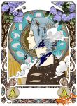 1boy apple blue_eyes cd clouds elaborate_frame feathers flower food frog fruit hat instrument jojo_no_kimyou_na_bouken piano rainbow silhouette snail snowflakes spider star tarot weather_report white_hair