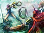 bccp belt boots faris_scherwiz final_fantasy final_fantasy_v gilgamesh_(final_fantasy) katana long_hair ninja ponytail purple_hair ribbon scarf sword throw yellow_ribbon