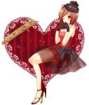 brown_hair gloves hat heart high_heels meiko mikippa red shoes short_hair smile solo top_hat veil vocaloid wink