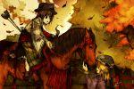 arrow blonde_hair bow_(weapon) brown_hair commentary hat horse horseback_riding leaves maribel_hearn multiple_girls tokoroten_(hmmuk) touhou usami_renko weapon