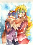 1girl blue_hair couple goggles goggles_on_head hand_holding height_difference holding_hands long_hair multicolored_hair nia_teppelin scarf simon tehryu tengen_toppa_gurren_lagann traditional_media watercolor_(medium)