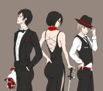 armin_arlert belt bouquet bowtie dress eren_jaeger flower formal hand_in_pocket hand_on_hip hat mikasa_ackerman red_rose rose shingeki_no_kyojin suit sword top_hat vest weapon yappo_(point71)