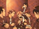 auruo_bossard brown_hair card cup erd_gin eren_jaeger gunter_shulz jacket levi_(shingeki_no_kyojin) petra_ral playing_card poker shingeki_no_kyojin smile sweatdrop teacup uniform yappo_(point71)