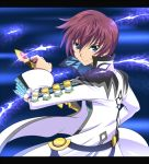 asbel_lhant blue_background blue_eyes brown_hair letterboxed male mikeneko_(stray-sheep) ready_to_draw short_hair sword tales_of_(series) tales_of_graces weapon