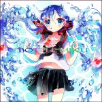 1girl blue_eyes blue_hair bottle_miku character_name fish hair_ribbon hatsune_miku liquid_hair long_hair nail_polish remimim ribbon school_uniform serafuku skirt solo twintails very_long_hair vocaloid water