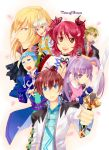 4boys asbel_lhant bad_id blonde_hair blue_eyes brown_eyes brown_hair cheria_barnes glasses hubert_ozwell long_hair malik_caesars multiple_boys multiple_girls pascal purple_hair red_hair redhead richard_(tales_of_graces) sen_nai short_hair sophie_(tales_of_graces) sword tales_of_(series) tales_of_graces title_drop twintails two_side_up weapon white_hair