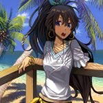 black_hair blue_eyes bracelet drawr earrings face ganaha_hibiki goe idolmaster jewelry leaning long_hair necklace ocean open_mouth palm_tree ponytail railing seaside shade sky solo summer tree tree_shade very_long_hair water