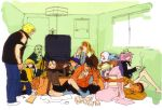 4girls 6+boys albino alex alternate_costume black_hair blonde_hair blush bomber_jacket brown_hair card casual cigarette dark_skin dudley eating effie elena eyeliner facial_hair food group_shot hat headband high_ponytail highres ibuki japanese_clothes ken_masters kimono kotatsu leather_jacket makeup mel_masters mochi multiple_boys multiple_girls mustache necro_(street_fighter) nishimura_kinu obi oro partially_colored peaked_cap playing_games poison_(final_fight) reading ryuu_(street_fighter) sean_matsuda shorts silver_hair sleeping smoking socks spiky_hair street_fighter street_fighter_iii street_fighter_iii:_3rd_strike table twintails wagashi wide_sleeves yang_lee yun_lee