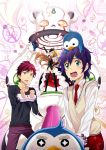 2boys animal animal_hat bird black_legwear blue_hair cuffs elbow_gloves fingerless_gloves gloves handcuffs hat highres light_brown_hair long_hair mawaru_penguindrum multiple_boys open_mouth penguin penguin_1-gou penguin_2-gou penguin_3-gou pink_eyes princess_of_the_crystal redhead short_hair takakura_himari takakura_kanba takakura_shouma thighhighs tomozo_kaoru