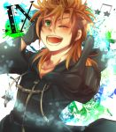 1boy brown_hair cloak demyx gloves green_eyes kingdom_hearts pointing uneno wink