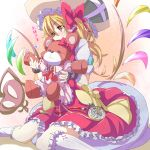 1girl blonde_hair bow colored dress flandre_scarlet hat highres kuromu_(underporno) laevatein orange_eyes pocket_watch remilia_scarlet remilia_scarlet_(cosplay) sitting solo stuffed_animal stuffed_toy tears teddy_bear touhou wariza watch wings