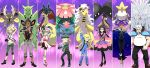 4boys 4girls abomasnow alakazam ampharos backpack bag beard bicycle_helmet bike_shorts black_hair blonde_hair camera citron_(pokemon) dark_skin facial_hair fingerless_gloves fukuji_(pokemon) furisode glasses gloves gojika_(pokemon) gym_leader hair_ornament helmet highres japanese_clothes kimono koruni_(pokemon) long_hair long_sleeves looking_at_viewer lucario mache_(pokemon) mawile mega_abomasnow mega_alakazam mega_ampharos mega_lucario mega_mawile mega_pinsir mega_tyranitar mega_venusaur multiple_boys multiple_girls open_mouth pinsir pokemon pokemon_(creature) pokemon_(game) pokemon_xy ponytail roller_skates scissors short_hair skates skin_tight skirt smile soumendaze two_side_up tyranitar urup_(pokemon) venusaur viola_(pokemon) white_hair zakuro_(pokemon)