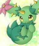 :3 arani_(aranonituke) flower horn maractus open_mouth pokemon pokemon_(creature) pokemon_(game) pokemon_bw smile thorns yellow_eyes