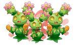 flower heart horn instrument maracas maractus mu_doll open_mouth pokemon pokemon_(creature) pokemon_(game) pokemon_bw smile thorns yellow_eyes