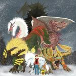 1boy alatreon annotated crossover deviljho drawtwo fatalis hat highres kirin_(monster_hunter) lao-shan_lung monster_hunter pikachu pokemon pokemon_(creature) pokemon_(game) rajang red_(pokemon) tigrex white_fatalis